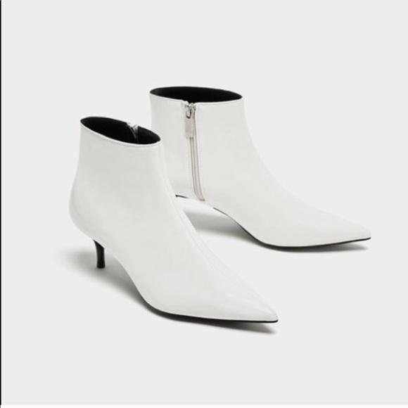 433acfceb Zara Shoes | Pointed Toe White Kitten Heel Booties 6 | Poshmark